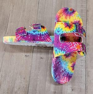 Tie Dye Rubber Double Strap Sandal Slides